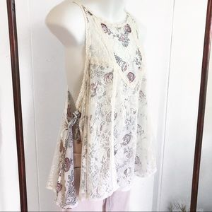 Free People Layered Lace Open Side Tank Top Tunic